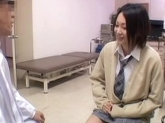 Nice pussy toying for a cute Jap during medical exam