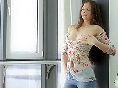 Amazing skinny girl play with dildo
