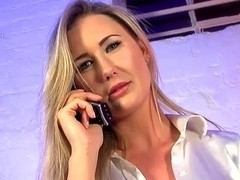 Very sexy golden-haired phonesex beauty in white shirt and underware