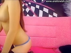 Cute petite brunette hair legal age teenager with pink sex-toy