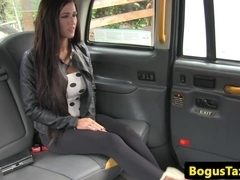 Busty backseat hottie rammed on taxi spycam