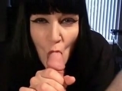 Goth honey sucks dong plays with cum and swallows