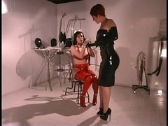 Hawt lesbos in red and darksome leather