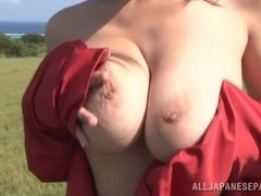 Ruri Saijoh hot asian model is naked outdoors