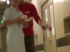 Slim legged bimbo in nurse uniform resisting sharking