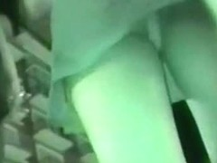 Night vision upskirt view of a hot babe's juicy butt