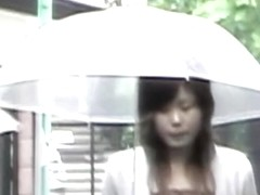 Rainy sharking action with fabulous oriental beauty being totally surprised