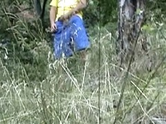 Blond fuck in the woods near the road