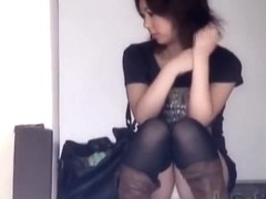 Lovely Asian dolls sitting in public and spreading their legs
