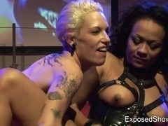 2 wild harlots have a fun lesbo sex on the stage