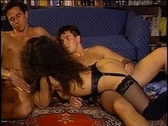 Juvenile brunette hair in leather pounded by 2 mates