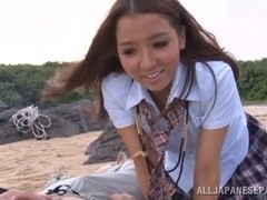 Ayaka Tomoda Asian teen in tiny bikini enjoys the beach and a threesome