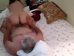Aged woman cowgirl reverse sex