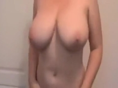 wife with dd breast jiggles 'em up and down and masturbating with a marital-device