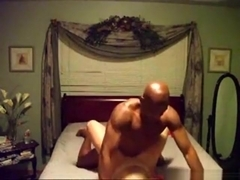 White girl gets missionary fucked by her black bf and moans