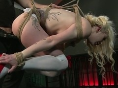 BDSM XXX Sexy blonde gets both holes filled by Master
