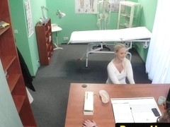Breasty euro doggy position drilled in drs office