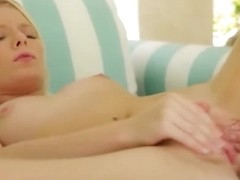 ultra sexy golden-haired on the green bedstead