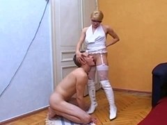 blond in white likes blow job sex
