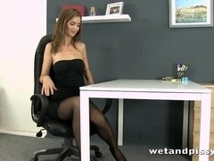 Office orgasm for ### squirting brunette