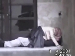 Voyeur tapes a partyslut riding her one night stand on the pavement in public