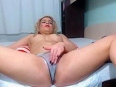 Blonde minx fucks her ass with a dildo on webcam