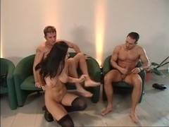 Hot Euro brunette in stockings gets DPd again