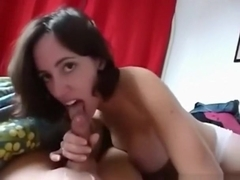 Hot brunette with awesome tits gives an eyefucking blowjob, until cumshot.