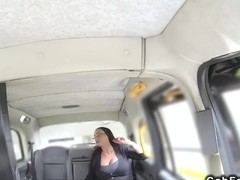 Redhead with monster tits in fake taxi banged pov