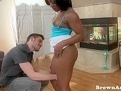 Ebony babe gets pussyfucked by white guy