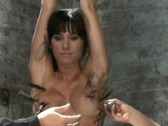 Extreme Pussy Torture On The Wooden Horse.Hard Flogging, A Brutal Zipper And Now It's Fun. - HogTi.