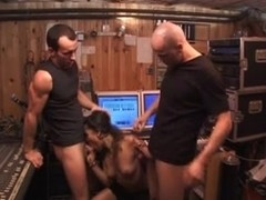 Interracial group sex in the sound recording studio
