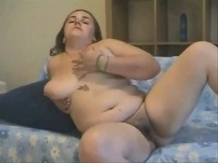 Hot Fat Chubby college girl GF playing with her hairy pussy