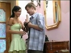 Strapon femdom sex with perfect brunette