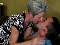 Mature skinny lady suck and fuck young boy's cock