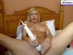 Screwing my pussy with a fat dildo