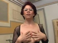 Milf in Body Stocking Enjoys Cock in All Her Holes
