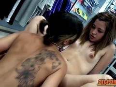 Zoe and Dulce having sex at skaters shop