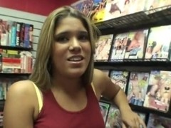 Latina girl Samantha teasing Josh in the store