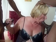 mature blonde suck 2 black cocks