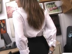 Sexy card dealer pawns her twat and screwed in the backroom