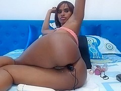 Horny black-latina with big booty + melons teasing