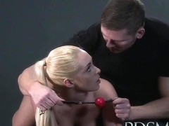 BDSM XXX Blonde sub gets tied and has her holes filled
