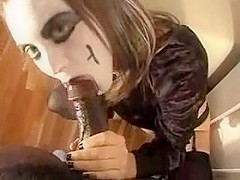 Non-Professional sweetheart sucking darksome wang at the sex party for the Halloween
