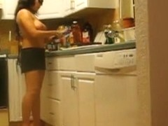 Seductive wife playing to be a nude chef