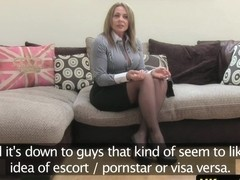 Auditioning busty milf escort blows agent