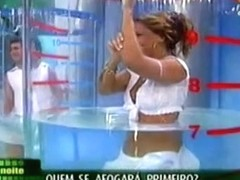 Bubble butt moving back and forth underwater on TV