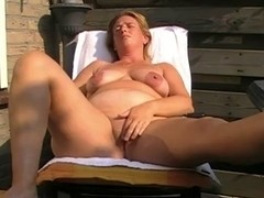 Older with saggy love melons masturbating and toying