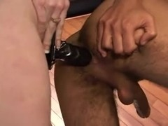 Cute chick strapon services his butthole