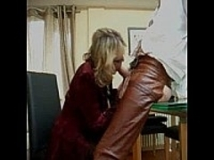 Chatty Mature Blonde Blows Cock